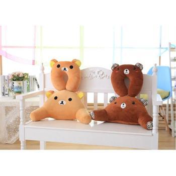 动物毛绒玩具抱枕卡通U型护颈枕+办公室护腰靠垫腰枕