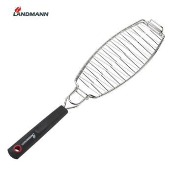 LANDMANN 兰德曼不锈钢烤鱼夹烤鱼网烧烤必备不锈钢把手烧烤工具