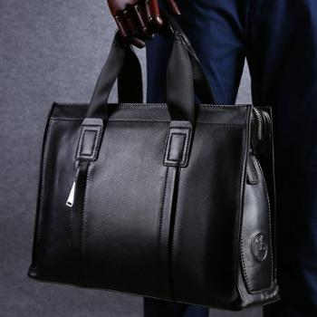 卓梵 阿玛尼正品男包牛皮商务手提包真皮横款单肩大电脑包公文包