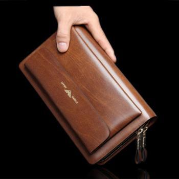 卓梵阿玛尼男士手拿包双拉链大容量男士手包牛皮钱包商务手拿包