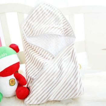 意婴堡婴儿抱被天鹅绒宝宝包被双面两用纯棉新生儿抱毯春秋
