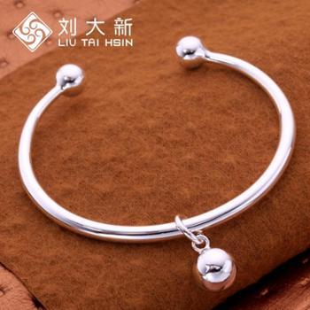 刘大新银饰银手镯990足银女款圆珠铃铛手镯光面开口银镯子送女友