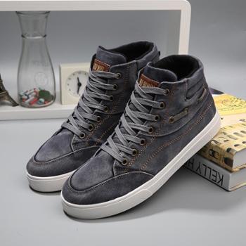 男士牛仔帆布鞋季高帮复古休闲板鞋