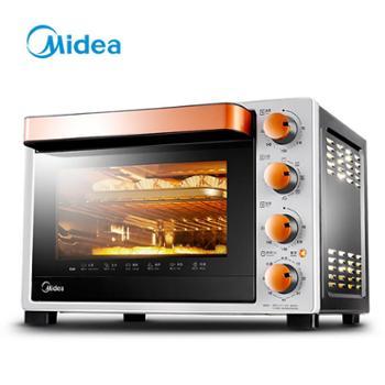 美的电烤箱电烤炉(Midea)T3-L324D二代家用多功能32升电烤箱专业烘焙搪瓷易清洁内胆双层隔热门