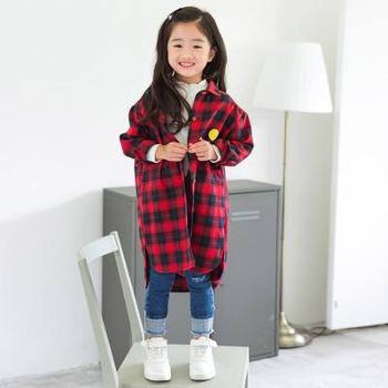 AD335春秋童装格子长袖衬衫韩版休闲中长款衬衫外套女童字母上衣