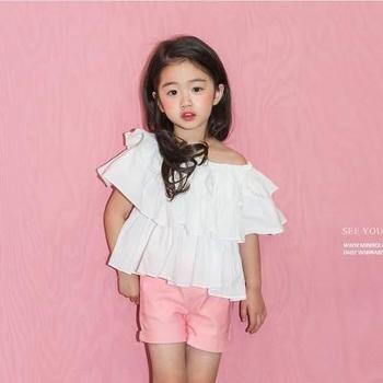 AD318夏装韩版童装一字领露肩百搭荷叶边衬衫蛋糕层式短袖上衣