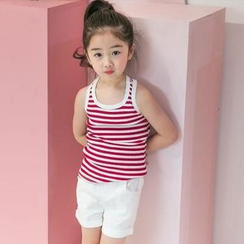 AD315夏装儿童条纹背心男女童百搭紧身打底衫圆领无袖T恤