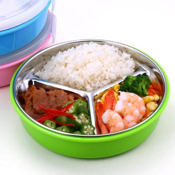 不锈钢分格保温饭盒便当盒小学生密封午餐快餐盒圆形三格