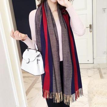 韩版秋冬季新款围巾女休闲百搭拼色披肩长款加厚保暖针织围脖