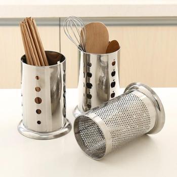 (厨房小工具)多功能创意厨房筷子筒不锈钢筷子笼餐具厨具沥水置物架3个装