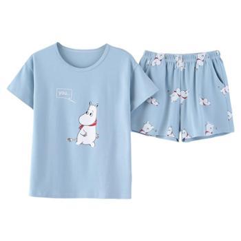 夏季新品睡衣女士*短袖短裤甜美可爱套装家居服宽松可外穿睡衣