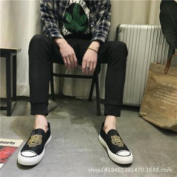 一脚蹬新款潮流男鞋懒人帆布鞋休闲百搭