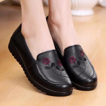 女单鞋头层牛皮妈妈鞋防滑单鞋印花皮鞋