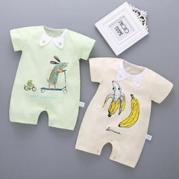 初生婴儿夏装连体衣新生儿哈衣爬服短袖纯棉薄款外出服