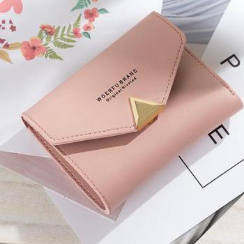 Baellerry女士短款钱包纯色搭扣简约文艺小清新皮夹多功能小钱包