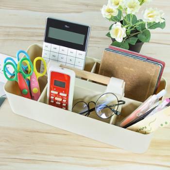 (生活用品)1个装木柄可叠加桌面收纳盒分格化妆品储物盒办公室桌文具整理盒