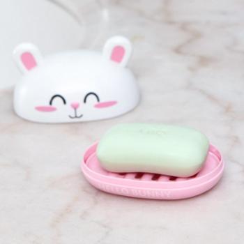 (生活用品)卡通兔子糖果色双层沥水香皂盒创意浴室卫生间塑料带盖肥皂托