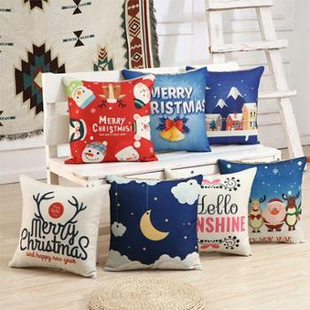 新品圣诞亚麻抱枕靠垫45*45cm含枕芯