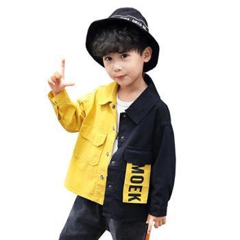 秋款韩版男童外套儿童上衣字母短款长袖拼色潮款