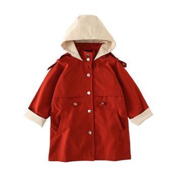 韩版中大童女童拼色连帽风衣中长款儿童风衣外套