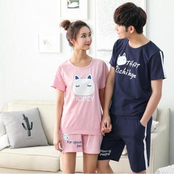 韩版夏季短袖纯棉情侣睡衣全棉男女士家居服休闲时尚套装