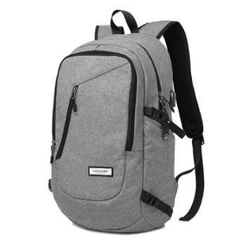 新款旅行背包 科技学生书包轻便男包棉麻质感休闲双肩包带usb接口 KAKA-2211