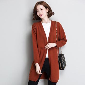 施悦名针织女款开衫长袖针织外套印花闪电图案毛衣开衫