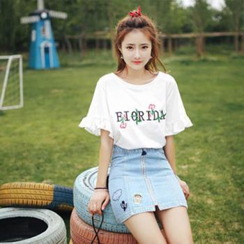 刺绣衣服女2019夏季新款韩版短袖T恤女士上衣女装