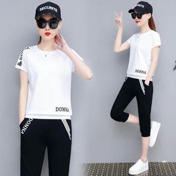 夏季韩版短袖T恤宽松时尚休闲运动套装女两件套