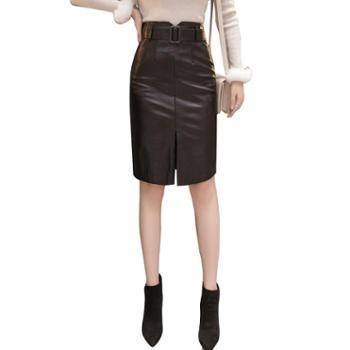 韩版修身显瘦轻熟风高腰pu皮开叉A字五分半身裙中裙小皮裙子女