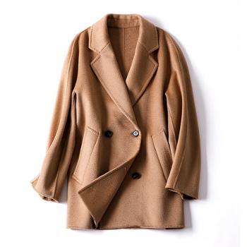 经典水波纹双面羊绒大衣外套羊毛大衣女装