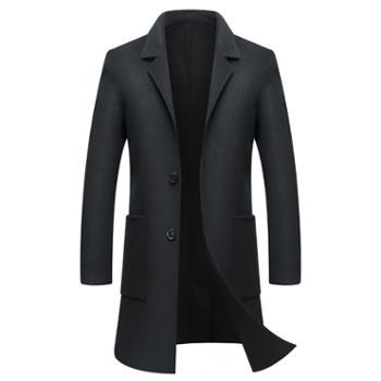 男士双面羊绒大衣修身型秋冬中长款纯色羊毛呢子外套青年休闲男装