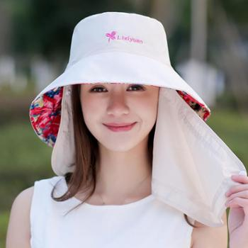 女士韩版遮阳帽 凉帽口罩可折叠防紫外线大沿防晒帽太阳帽