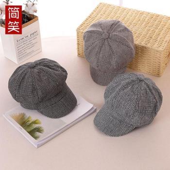 女士新款棉麻帽子韩版潮格子休闲八角鸭舌帽