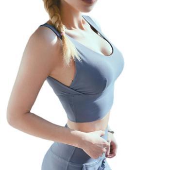 新款lazada防震运动内衣女 跑步健身瑜伽双面裸感美背运动文胸