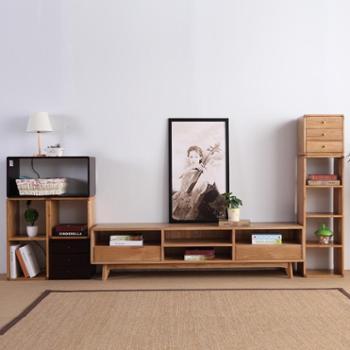 双李家具实木电视柜田园简约液晶电视地柜白橡木日式原木色1.8米视听柜宜家储物媒体柜