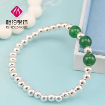 相约银饰S990足银纯银手链纯银手镯绿玛瑙纯银手镯纯银圆珠