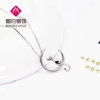 相约银饰925银 项链 女款 月亮上的喵 锁骨链 送女友闺蜜生日礼物包邮