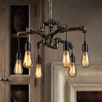 复古工业风餐厅吊灯咖啡馆创意个性水管吧台吊灯客厅酒吧铁艺灯具