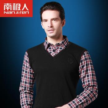 南极人保暖上装商务加绒加厚保暖衬衫冬男士衬衫领保暖内衣假两件