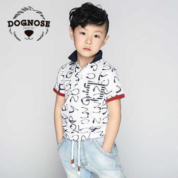 dognose童装男童2015夏装韩版儿童翻领短袖t恤宝宝半袖T恤