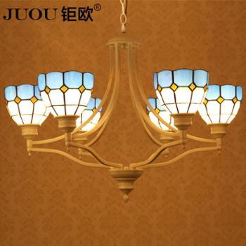 钜欧灯饰地中海美式乡村客厅吊灯创意艺术蒂凡尼餐厅灯具卧室灯