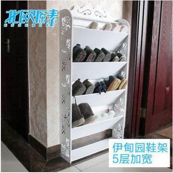 特价欧式创意白色多层ikea防尘进门倾斜鞋架收纳鞋架五层加宽鞋柜