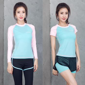 派衣阁 韩版夏季新款短袖瑜珈两件套户外健身服运动套装瑜伽服女