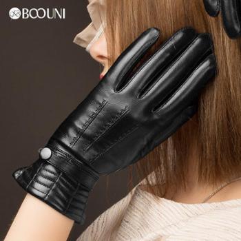 柏欧尼新款真皮手套女士羊皮清水皮刺绣保暖绒黑色紧口女士皮手套