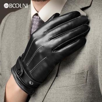 柏欧尼新款触屏皮手套男士冬季保暖手套加绒加厚真皮手套男