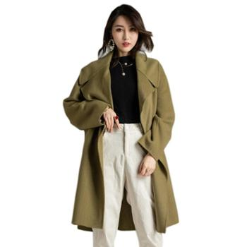 CKOUCCOO/扣蔻秋冬新款手工双面呢羊绒大衣女茧型宽松双排扣毛呢外套中长款