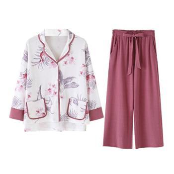 菲蜜莉新款睡衣女春季全纯棉长袖韩版开衫宽松长裤两件家居服套装