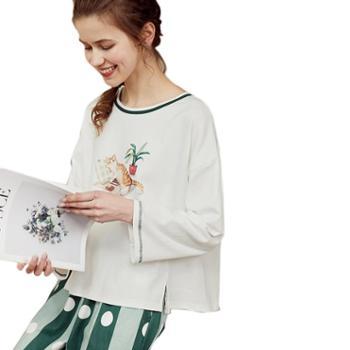 菲蜜莉新款睡衣女春季纯棉长袖可爱卡通休闲家居服清新简约休闲两件套