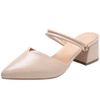 淇路缘新款凉鞋浅口韩版人造PU尖头粗跟夏季时尚新款女式凉鞋